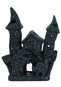 Ciao 30525-Castillo portavelas HALLOWEEN de cerámica Glitter, 18cm