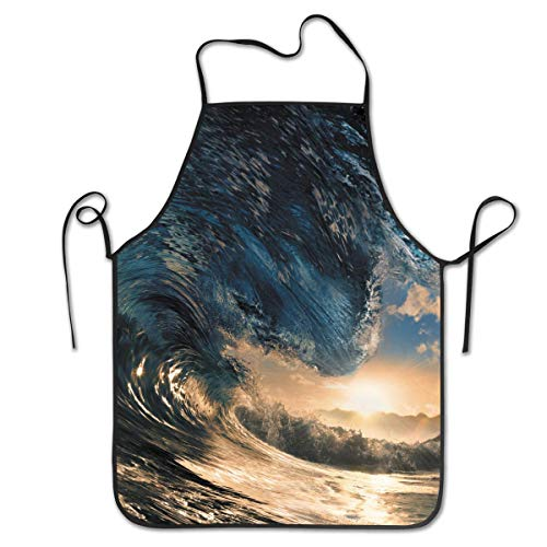 fdgjydjsh Glassy Giant Wave Personalized Apron for Kitchen Baker Baking Restaurant Cooking Chef Crafting Apron Sleeveless - Ny Giants Tragen