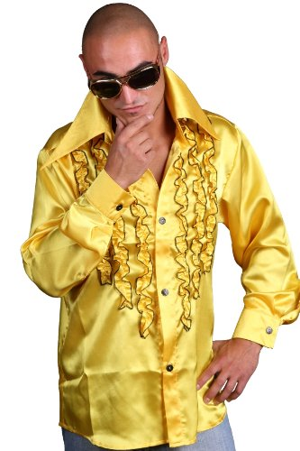 Schlagerhemd gelb, Gr. XL (Night Saturday Fever In John Kostüm Travolta)