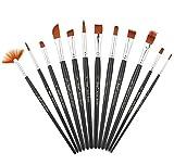 Pinselset 12 Stück Künstler Malen Pinselset Acryl Pinsel Set, Rund Spitze und Spitze Nylon Haar Künstler Malpinsel für Acryl Aquarell und Ölgemälde für Anfänger, Kinder, Künstler und Gemälde Liebhaber Paint Brush Set