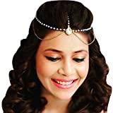#7: JewelMaze Stone And Pearl Gold Plated Mang Tikka For Women