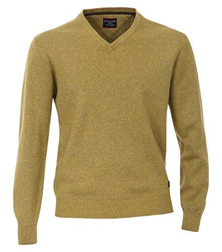 Casa Moda - Herren Pullover mit V-Ausschnitt in Melange Optik (462521200A) Gelb (520)