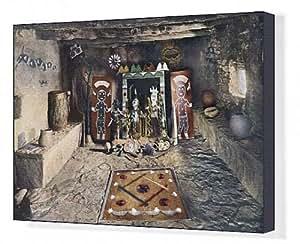 Toile imprimée de style amérindien d'autel Powamu de la société dans un Hopi house du Grand Canyon