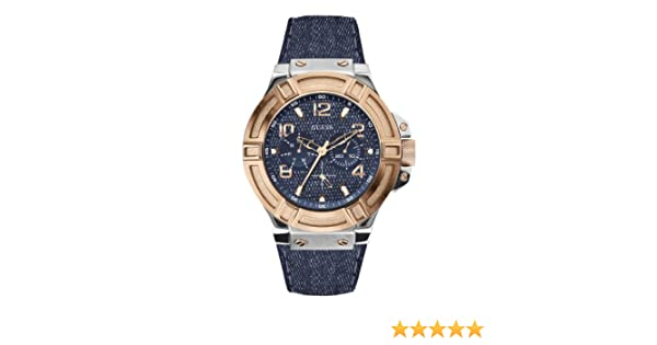 Montre Analogique W0040g6 Guess Cuir Bracelet Homme Quartz Bleu 8wvmyNn0O