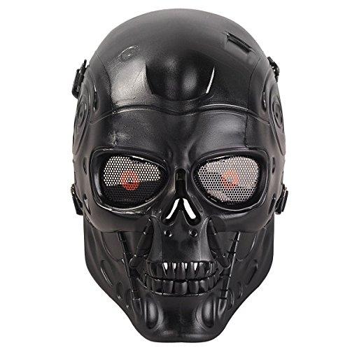 HanLuckyStars Máscara Airsoft Máscara de Craneo Tacticas Militar Proteccion de Cara con Malla de Metal Protectora y Transpirable, Decoración para el Partido de Halloween Cosplay Aire libre (Negro)