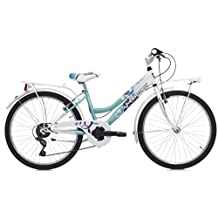 Cicli Cinzia Citybike Daisy 6/V Revo Shift V-Brake Alu, Bicicletta Bimba, Bianco/Azzurro, 24