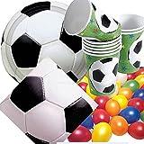 Riethmüller/Dekospass Kit de fête d'anniversaire 33pièces avec assiettes en carton, serviettes, gobelets en carton et confettis XXL Thème football