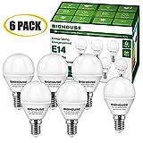 BIG HOUSE LED E14 Small Edison Screw (SES) Golf Ball Bulbs, 5W P45 E14 LED Lights Bulbs, 40W Incandescent Bulb Equivalent, 400LM, 3000K Warm White [Energy Class A+] (Pack of 6)