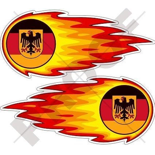 Deutschland Deutsch Flammender Feuerball Feuer 125mm Auto Motorrad Aufkleber X2 Vinyl Stickers Garten