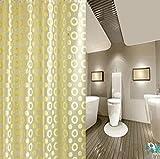 GZD High-End impermeabile tenda della doccia Muffa di stampa Giallo Circle PEVA Spesso (1 pacchetto di 2) , 150*180