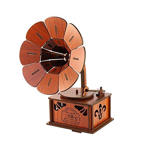 EQLEF® Bricolaje 3D rompecabezas de madera retro fonógrafo modelo Vi