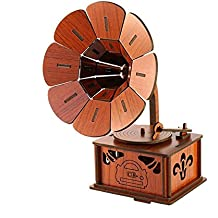 EQLEF® Bricolaje 3D rompecabezas de madera retro fonógrafo modelo Vintage reproductor de discos reproductor antiguo gramófono modelo de decoración de oficina en casa adornos