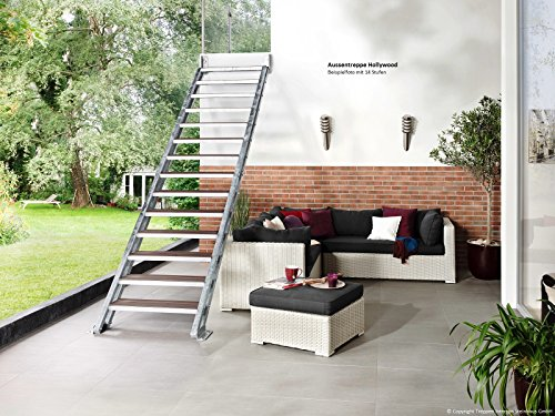 Intercon Exterior Staircase Hollywood Wood Plastic Composite or Grill Grating 80 cm wide for Floor Height 72 – 330 cm with 4 - 14 Steps