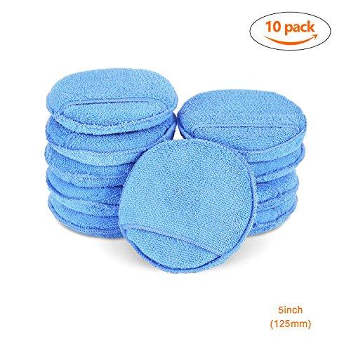 SPTA microfaser pad Blaue Farbe mikrofasertuch Auto Polierschwämme Wachsen Applicator Pads Wachs Schwämm 10tlg 125mm (Öl-swirl)