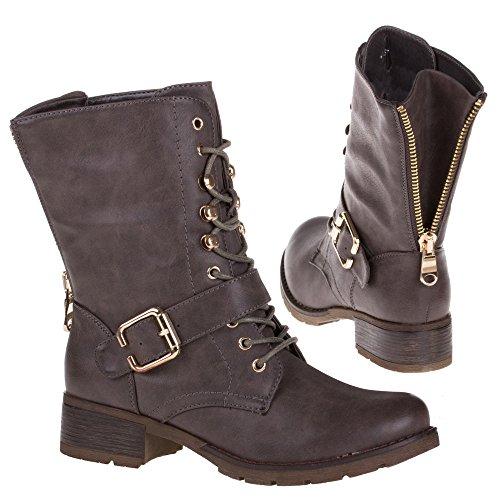 Damen Schuhe, W3083, STIEFELETTEN Grau Braun 738-PA