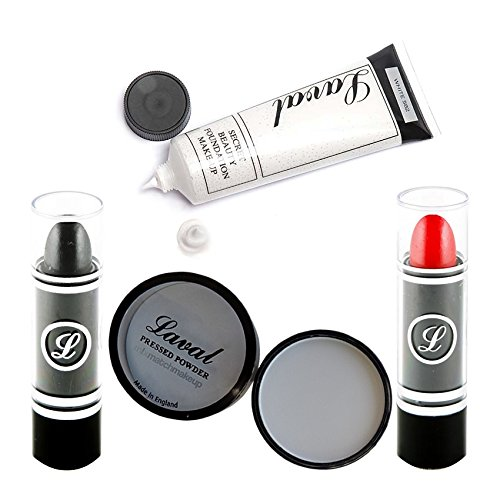 The Spooky Halloween Ultimate Make Up Set Black Lipstick , White Foundation , White Powder And Red Lipstick By Moreton Gifts by Halloween