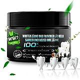 Wsky Aktivkohle Kokosnuss Pulver, Zahnaufhellung für weiße Zähne, 100% Natürliche Premium ohne schädliche Zusatzstoffe Bleaching Zahnpasta, Activated Charcoal Teeth Whitening