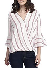 Tenxin Blusa de Mujer Blusas de Manga Larga de Gasa Camisa de Moda Elegante Blusa de