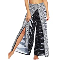 MK988 Women's Casual Boho Yoga Split Loose Wide Leg Palazzo Lounge Pants 6 S