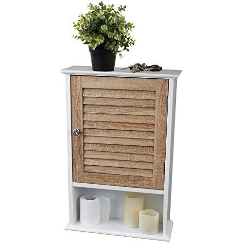 Pensile con 1lamelle sportello 40x 15x 60cm legno/mdf armadietto armadio da bagno mobile da parete