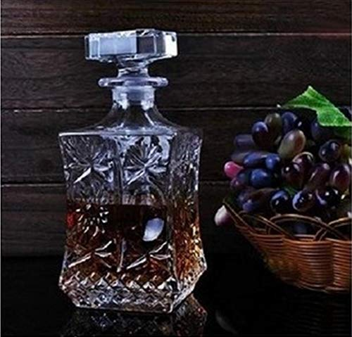FeiKe 1 STÜCK Neue Gravierte Taillenform Kristall Whisky Weinflasche Schnaps Krug Container Rotwein Karaffe Belüftung Party Bar Set JR 1091, Transparent
