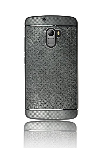 Parallel Universe Lenovo Vibe K4 Note Leathher Like Textured TPU Dotted Back Cover Case - Black