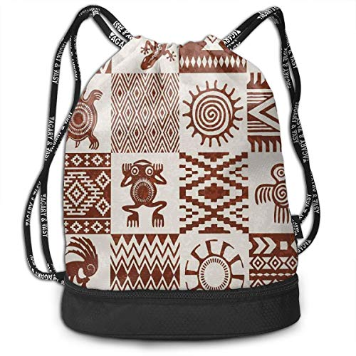 LULABE Printed Drawstring Backpacks Bags,Frames with Ethnic Native American Patterns and Symbols Grunge Look,Adjustable String Closure