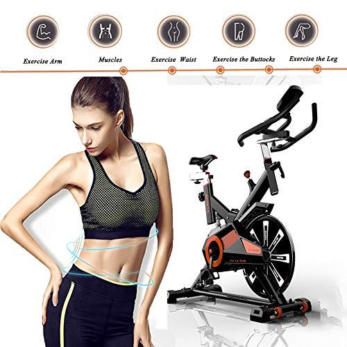 RISILAYS Profi Indoor Cycle Hometrainer,Armauflage,Pulsgurt kompatibel-Speedbike mit flüsterleisem Riemenantrieb-Fahrrad Ergometer bis150Kg,Red