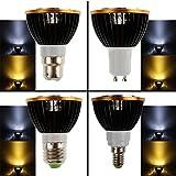 JAYLONG 4 Pack E27 LED Birnen Spot Licht Lampe Birne Glühbirnen, 5W COB Scheinwerfer, schwarz Aluminium Gehäuse, are white
