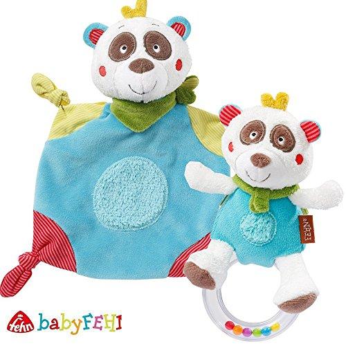 Baby Fehn Spar-Set Panda Schmusetuch mit Köpfchen & Panda Greifling Zum Rasseln // 2er Set // Lebhafte Farben und Materialien // Baby Velours-set