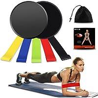 Weibest Bandas de Resistencia y discos deslizantes Core Sliders Exercise Set, Doble cara abdominales Sliders ejercicio para alfombra, fuerza y estabilidad, con bolsa de transporte, Negro