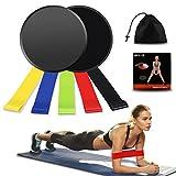 Weibest Bandas de Resistencia y discos deslizantes Core Sliders Exercise Set, Doble cara abdominales Sliders ejercicio para alfombra, fuerza y estabilidad, con bolsa de transporte, Rosado