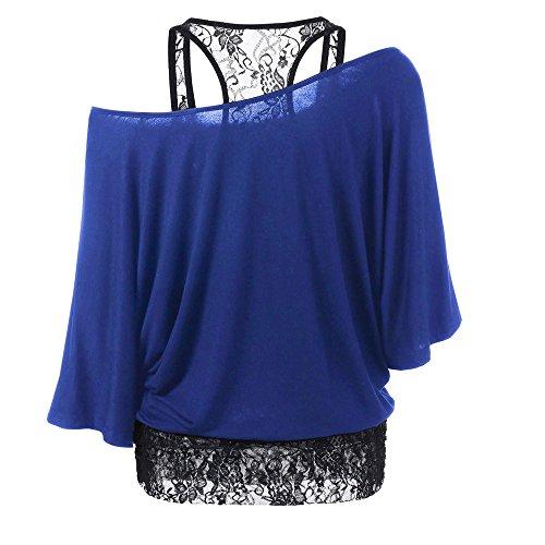 Tops T-Shirt Covermason Femmes Plus Size dentelle lâche occasionnels Tops Blouse manches longues Bleu