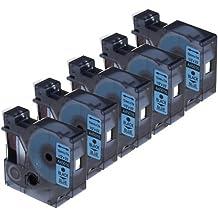 5 Kassetten D1 40916 schwarz auf blau 9mm x 7m Schriftband kompatibel f/ür DYMO LabelManager LM 100 150 160 200 210D 260 280 300 350 350D 360D 400 420P 450 500TS PC PC2 PnP LabelWriter LW 400 450 Duo