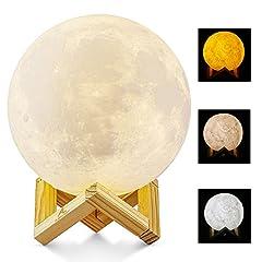Idea Regalo - Lampada Luna 3D Stampata, ALED LIGHT Piena Lampada Moon Luna con Diametro di 15cm/5,9pollici e 3 Colori, Ricarica USB Decorativo LED Luce Notturna Toccare il Controllo, Decoro per la Stanza da Letto Mood Light per Camera da Letto Cafe