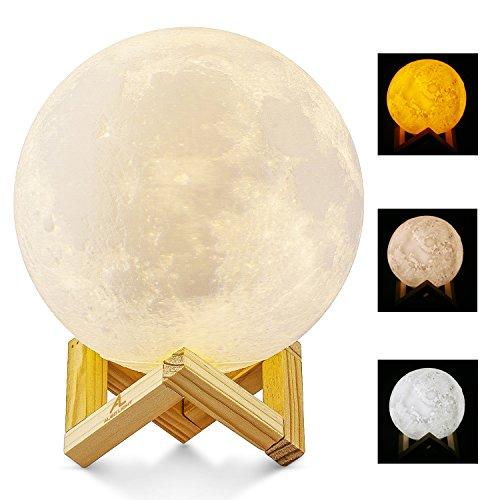 Größer! 15cm Mond Lampe Nachtlampe 3D Mond Lampe Mondlicht ALED LIGHT 5.9 Zoll Durchmesser Mond Nachtlicht Lampe 3 Farbe Wählbar Schlafzimmer Dekor USB Lade Stimmung Licht für Schlafzimmer Cafe Bar Esszimmer (Tippen Sie Auf Licht)