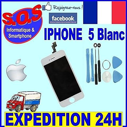 Trop Saint®Bloc Complet Sur Chassis BLANC pour Apple iPhone 5 Retina + ECRAN LCD Avec Vitre Tactile BLANCHE + Outils (Uniquement pour l'iPhone 5)