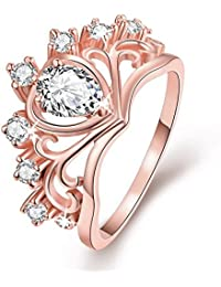 Via Mazzini 18K Rose Gold Plated Swiss Zirconia Royal Crown Crystal Ring for Women and Girls (Ring0221)