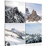 Bild 80 x 80 cm - Berge Bilder- Vlies Leinwand - Deko für Wohnzimmer -Wandbild - XXL 4 Teilig Teile - leichtes Aufhängen- 803043a