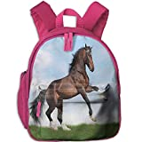 Kid's Boys'&Girls' Bookbag with Pocket Animal Decor Bay Horse Pacing On The Grass Energetic Noble Character of The Nature Honor Concept Full Blue Green Brown