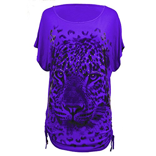 New Womens Ladies Girls PLUS SIZE Batwing Sleeve Sequin Print Loose Baggy T Shirt Top UK Size 8-26