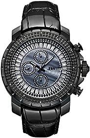 JBW Luxury Men's Titus 12 Diamonds & Baguette Cut Swarovski Crystals Leath
