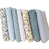 Souarts Assorted Colors Cotton Fabric Bundles Quilting Sewing Patchwork Fabric Clothes DIY Craft Blue