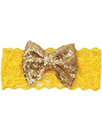 Sanwood Kids Baby Girl Sequin Lace Bowknot Hair Band Twinkling Headband (Golden)