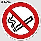 Aufkleber Rauchen verboten Ø 14cm, Rauchverbot Nichtraucher Piktogramm UV-Schutz (Outdoor geeignet), Aussenklebend für Büro, Werkstatt, Gaststätte, Garage etc