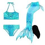 Le SSara Sea-cameriera cosplay costumi da bagno Mermaid Shell costume da bagno con pinna coda sirena nuotabile (130, DH06-Black)