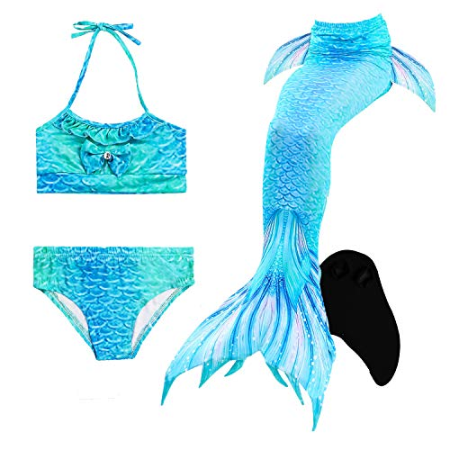 Le SSara Seemädchen Cosplay Bademode Mermaid Shell Badeanzug mit FIN Swimmable Mermaid Schwanz (140, ()