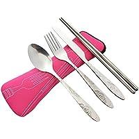 4 piezas de acero inoxidable (cuchillo, tenedor, cuchara, palillos), cubiertos de viaje / camping conjunto con estuche de neopreno (rosa(4 piezas))