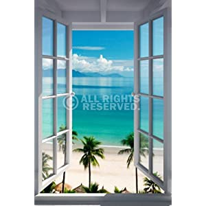 REINDERS Strand Fenster - Poster 61 x 91,5 cm