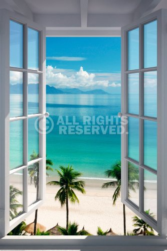(REINDERS Strand Fenster - Poster 61 x 91,5 cm)